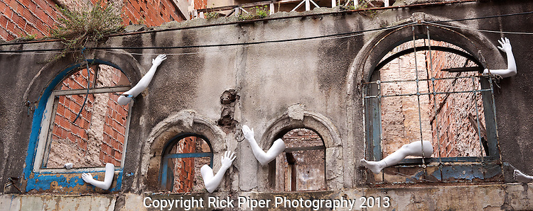 The Derelict Wall Of Lost Limbs 02 - Art installation on a derelict building in the backstreets of Beyoglu, Istanbul, Turkey