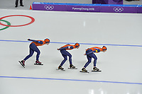 OLYMPIC GAMES: PYEONGCHANG: 19-02-2018, Gangneung Oval, Long Track, Team Pursuit Ladies, Team Netherlands, Antoinette de Jong, Marrit Leenstra, Ireen Wüst, ©photo Martin de Jong