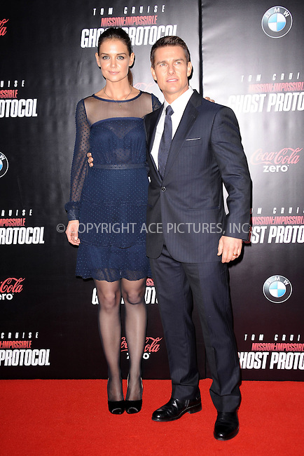 WWW.ACEPIXS.COM . . . . . December 19, 2011...New York City....Katie Holmes and Tom Cruise attend the 'Mission: Impossible - Ghost Protocol' U.S. premiere at the Ziegfeld Theatre on December 19, 2011 in New York City....Please byline: KRISTIN CALLAHAN - ACEPIXS.COM.. . . . . . ..Ace Pictures, Inc: ..tel: (212) 243 8787 or (646) 769 0430..e-mail: info@acepixs.com..web: http://www.acepixs.com .