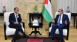Palestinian Prime Minister Mohammad Ishtayeh, receives the Italian consul in the West Bank city of Ramallah, on June 23, 2020. Photo by Prime Minister Office