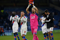 30th November 2019; Turf Moor, Burnley, Lanchashire, England; English Premier League Football, Burnley versus Crystal Palace; Crystal Palace keeper Vicente Guaita celebrates with James McArthur at the final whistle after Palace ran out 2-0 winners - Strictly Editorial Use Only. No use with unauthorized audio, video, data, fixture lists, club/league logos or 'live' services. Online in-match use limited to 120 images, no video emulation. No use in betting, games or single club/league/player publications
