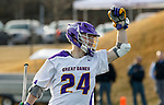 UAlbany Men's Lacrosse defeats Stony Brook on March 31 at Casey Stadium.  Alex Burgmaster (#24) celebrates a score.