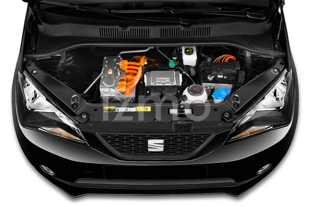 Car stock 2020 Seat Mii electric Plus 5 Door Hatchback engine high angle detail view