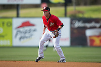 Kannapolis Intimidators second baseman Grant Massey (18) on defense against the Hickory Crawdads at Kannapolis Intimidators Stadium on April 10, 2016 in Kannapolis, North Carolina.  The Intimidators defeated the Crawdads 10-3.  (Brian Westerholt/Four Seam Images)