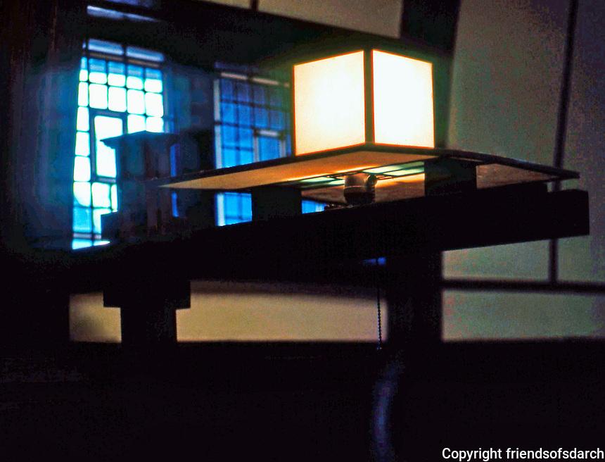 F.L. Wright: House, Interior. Light Fixture.  Photo '76.
