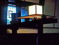 F.L. Wright: House, Interior. Light Fixture. Oak Park, IL. Photo '76.