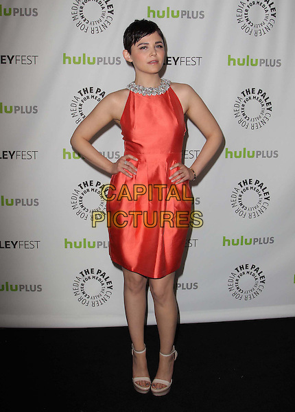 """Ginnifer Goodwin.30th Annual Paley Fest - """"Once Upon A Time"""" held at the Saban Theatre, Beverly Hills, California, USA..March 3rd, 2013.full length dress hands on hips orange sleeveless embellished jewel encrusted trim collar .CAP/ADM/KB.©Kevan Brooks/AdMedia/Capital Pictures."""