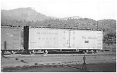 Side view of D&amp;RGW short reefer #73 at Durango.<br /> D&amp;RGW  Durango, CO