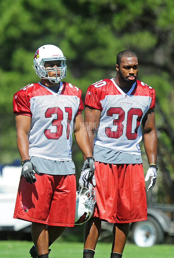 Jul 31, 2009; Flagstaff, AZ, USA; Arizona Cardinals running backs (31) Jason Wright and (30) Chris Vincent during training camp on the campus of Northern Arizona University. Mandatory Credit: Mark J. Rebilas-