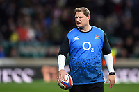 England Rugby Assistant Coach Neal Hatley looks on during the pre-match warm-up. Guinness Six Nations match between England and Scotland on March 16, 2019 at Twickenham Stadium in London, England. Photo by: Patrick Khachfe / Onside Images