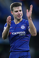 Chelsea's Cesar Azpilicueta applauds the home fans at the end of the match as he celebrates their 5-0 victory during Chelsea vs Huddersfield Town, Premier League Football at Stamford Bridge on 2nd February 2019