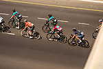 The peleton including race leader Bryan Coquard (FRA) Vital Concept Cycling Club in action during Stage 2 of the 2018 Tour of Oman running 167.5km from Sultan Qaboos University to Al Bustan. 14th February 2018.<br /> Picture: ASO/Muscat Municipality/Kare Dehlie Thorstad | Cyclefile<br /> <br /> <br /> All photos usage must carry mandatory copyright credit (&copy; Cyclefile | ASO/Muscat Municipality/Kare Dehlie Thorstad)