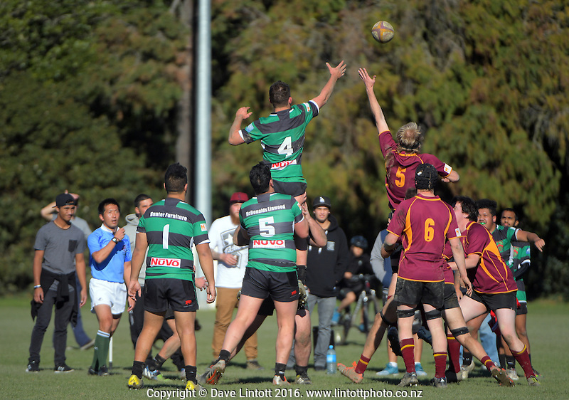 Action from the Canterbury Metro Colts club rugby match between University and Linwood at Ilam Fields, Christchurch, New Zealand on Saturday, 16 July 2016. Photo: Dave Lintott / lintottphoto.co.nz