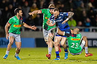 3rd January 2020; AJ Bell Stadium, Salford, Lancashire, England; English Premiership Rugby, Sale Sharks versus Harlequins; Byron McGuigan of Sale Sharks is tackled by Aaron Morris of Harlequins - Editorial Use