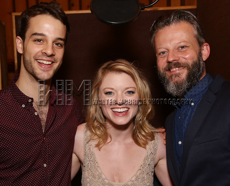 Ryan Viona, Ruby Lewis and Jeremy Kushnier during the making of the Broadway cast recording of 'Paramour' at Avatar Studios on June 29, 2016 in New York City.