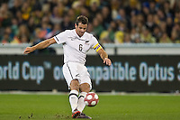 MELBOURNE, AUSTRALIA - MAY 24, 2010: Ryan Nelsen of New Zealand kicks the ball at the FIFA World Cup farewell match between Australia and New Zealand at the Melbourne Cricket Ground, 24 May, 2010 in Melbourne, Australia. Photo by Sydney Low / www.syd-low.com