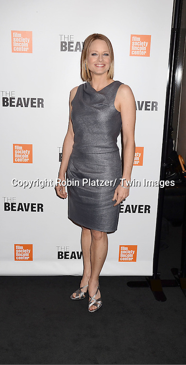 "Jodie Foster in Armani gray dress and shoes attending the special screening of ""The Beaver"" on     May 4, 2011 at The Walter Reade Theatre in New York City. Jodie Foster is the director and the star of the movie."