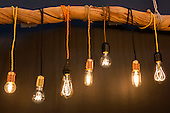 London, UK. 22 September 2016. LED lamps by Illumis Lights. The UK's largest design show 100% Design takes place at London Olympia from 21 to 24 September 2016. © Bettina Strenske/Alamy Live News