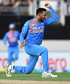 8th February 2019, Eden Park, Auckland, New Zealand;  Krunal Pandya celebrates the wicket of Williamson. New Zealand v India in the Twenty20 International cricket, 2nd T20.