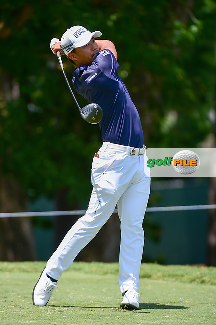 Satoshi Kodaira (JPN) watches his tee shot on 5 during Thursday's round 1 of the PGA Championship at the Quail Hollow Club in Charlotte, North Carolina. 8/10/2017.<br /> Picture: Golffile   Ken Murray<br /> <br /> <br /> All photo usage must carry mandatory copyright credit (&copy; Golffile   Ken Murray)