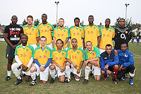 Bancroft United FC players pose for a team photo - Lapton (blue/black) vs Bancroft United (yellow/white) - Hackney & Leyton League Dickie Davies Cup Final at Waltham Forest FC - 29/04/11 - MANDATORY CREDIT: Gavin Ellis/TGSPHOTO - Self billing applies where appropriate - Tel: 0845 094 6026