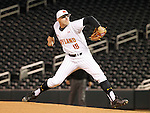 Maryland pitcher Mike Shawaryn (18) delivers to Michigan State during the inning of a Big 10 tournament baseball game in Minneapolis, Wednesday, May 20, 2015. Maryland defeated Michigan State 2-1. ( Photo/Ann Heisenfelt)