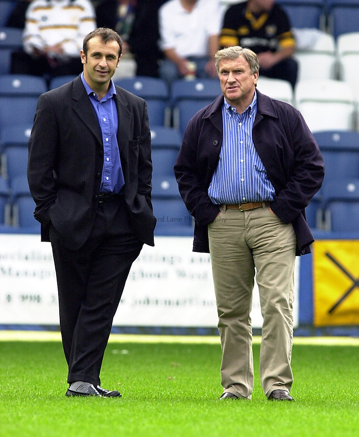Photo. Richard Lane. .Wasps v Gloucester. Zurich Premiership. 17/9/2000.Tom Walkinshaw, owner of Gloucester RFC (rt)with the director of Rugby, Phillipe Saint-Andre
