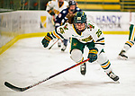 9 February 2020: University of Vermont Catamount Forward Alyssa Holmes, a Junior from Burlington, Ontario, in first period action against the University of Connecticut Huskies at Gutterson Fieldhouse in Burlington, Vermont. The Lady Cats defeated the Huskies 6-2 in the second game of their weekend Hockey East series. Mandatory Credit: Ed Wolfstein Photo *** RAW (NEF) Image File Available ***