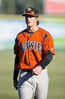 Mike Yastrzemski (4) of the Bowie Baysox  warms up in the outfield prior to the game against the Richmond Flying Squirrels at The Diamond on May 23, 2015 in Richmond, Virginia.  The Baysox defeated the Flying Squirrels 3-2.  (Brian Westerholt/Four Seam Images)