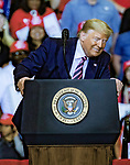 """Feb 02 21 Las Vegas Trump's Keep America Great Rally. President Donald Trump during campaign rally at Las Vegas Convention Center TRUMP mocks """"Little Michael"""" Bloomberg during rally"""