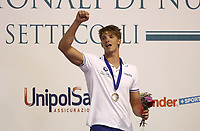 Swimming 55&deg; Settecolli trophy Foro Italico, Rome on June 30, June 2018.<br /> Swimmer Alessandro Miressi, of Italy, celebrates with the gold medal after winning the men's 100 meters Freestyle at the Settecolli swimming trophy in Rome, on June 30, 2018.<br /> UPDATE IMAGES PRESS/Isabella Bonotto