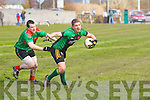 Cillian Fitzgerald (Chuchhill) in action with Colm Kissane (Beale)  n the Div 4th Credit Union County Senior Football league on Sunday at Churchill GAA,grounds.