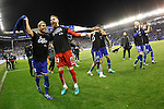 Deportivo Alaves' Victor Camarasa, Adrian Ortola, Deyverson Silva, Zouhair Feddal, Gaizka Toquero and Kiko Femenia celebrate the victory in the Spanish Kings Cup semifinal. February 08,2017. (ALTERPHOTOS/Acero)