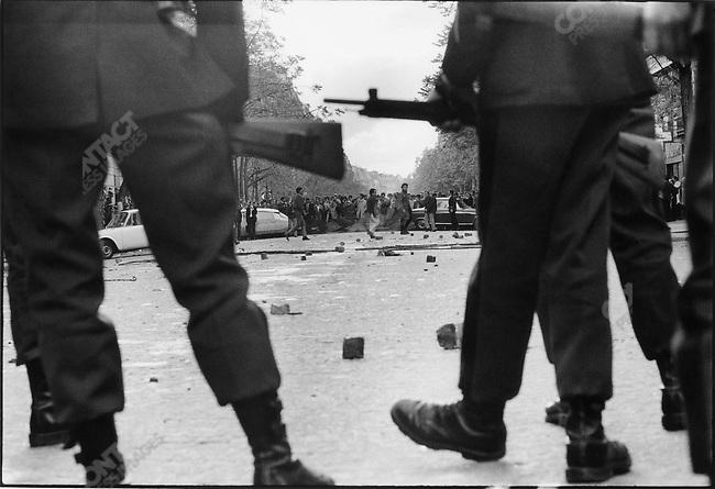The 1968 May Events, boulevard Saint Germain, Paris, France, May 6, 1968.