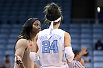 21 November 2013: UNC assistant coach Ivory Latta (left) talks to Jessica Washington (24). The University of North Carolina Tar Heels played the Coastal Carolina University Chanticleers in an NCAA Division I women's basketball game at Carmichael Arena in Chapel Hill, North Carolina. UNC won the game 106-52.