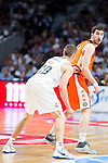 Real Madrid's player Jaycee Carroll and Valencia Basket's Guillem Vives during the first match of the Semi Finals of Liga Endesa Playoff at Barclaycard Center in Madrid. June 02. 2016. (ALTERPHOTOS/Borja B.Hojas)