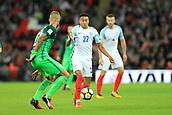 5th October 2017, Wembley Stadium, London, England; FIFA World Cup Qualification, England versus Slovenia; Jesse Lingard of England challenges Aljaz Struna of Slovenia