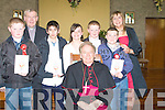 Confirmed on Monday in St Peters and Paul Church Ballyduff by the Bishop of Kerry Bill Murphy were pupils from Rathmorell NS.l-r: Robert Stack, Fr Brendan Walsh, Sea?n Powers, Louise Herbert, Bishop of Kerry Bill Murphy, Colin Stack, Jamie Donegan and Sheila Lawlor-Egan (teacher)..
