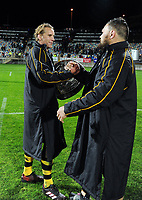 Jarrad Hoeata and Angus Ta'avao celebrate retaining the Ranfurly Shield Mitre 10 Cup rugby match between Taranaki and Manawatu at Yarrow Stadium in New Plymouth, New Zealand on Friday, 24 August 2018. Photo: Dave Lintott / lintottphoto.co.nz
