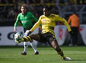 18th March 2018, Dortmund, Germany;  Football Bundesliga, Borussia Dortmund versus Hannover 96 at the Signal Iduna Park. Dortmund's Michy Batshuayi brings down a high ball in midfield