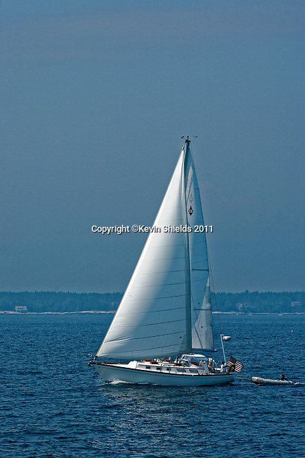 Sailboat underway in the harbor, Boothbay Harbor, Maine, USA