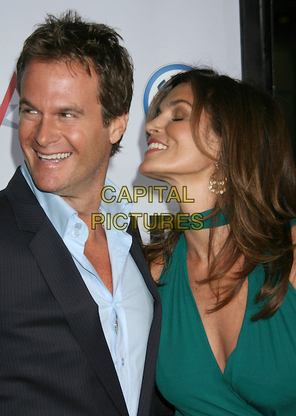 "RANDE GERBER & CINDY CRAWFORD .""Leatherheads"" World Premiere held at Grauman's Chinese Theatre, Hollywood, California, USA,.31 March 2008..portrait headshot green neck scarf funny profile married husband wife .CAP/ADM/RE.©Russ Elliot/Admedia/Capital PIctures"