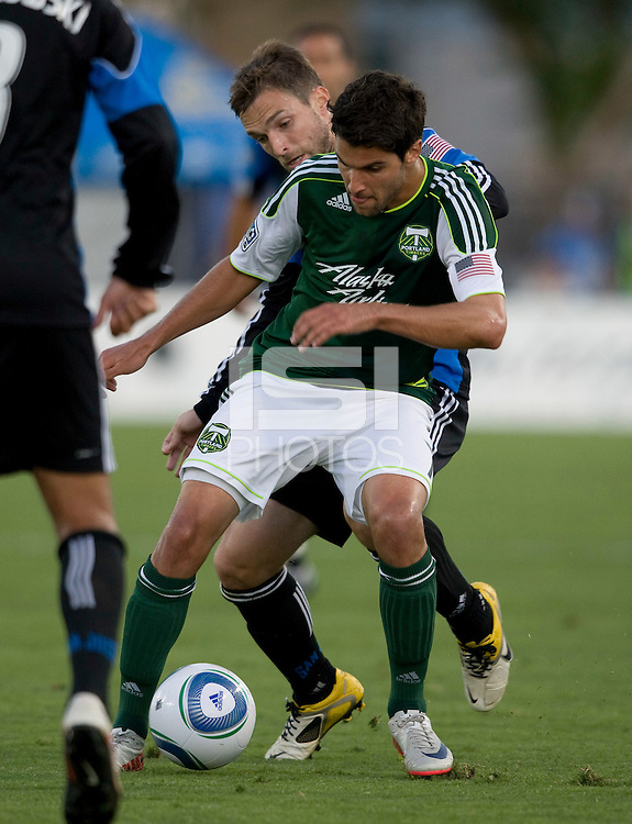 Sal Zizzo of Timbers fights for the ball against Bobby Convey of Earthquakes during the game at Buck Shaw Stadium in Santa Clara, California on August 6th, 2011.   San Jose Earthquakes and Portland Timbers tied 1-1.
