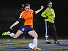 Tara Brophy of MacArthur kicks upfield during the first of two varsity girls soccer all-star games pitting the Nassau County seniors against their Suffolk counterparts at Bethpage High School on Friday, Nov. 25, 2016. She posted a shutout and was named team MVP in Nassau's 1-0 win.