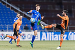 Ulsan Hyundai Defender Jung Seunghyun (L) trips up with Brisbane Roar Forward Manuel Arana Rodriguez (R) during the AFC Champions League 2017 Group E match between Ulsan Hyundai FC (KOR) vs Brisbane Roar (AUS) at the Ulsan Munsu Football Stadium on 28 February 2017 in Ulsan, South Korea. Photo by Victor Fraile / Power Sport Images