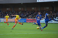Luke O'Nien of Wycombe Wanderers has a shot on goal during the Sky Bet League 2 match between AFC Wimbledon and Wycombe Wanderers at the Cherry Red Records Stadium, Kingston, England on 21 November 2015. Photo by Alan  Stanford/PRiME.