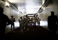 The Ohio State Buckeyes head down the tunnel as they head to the field for warm ups before the college football game between the Michigan Wolverines and the Ohio State Buckeyes at Michigan Stadium in Ann Arbor, Saturday afternoon, November 28, 2015. (The Columbus Dispatch / Eamon Queeney)