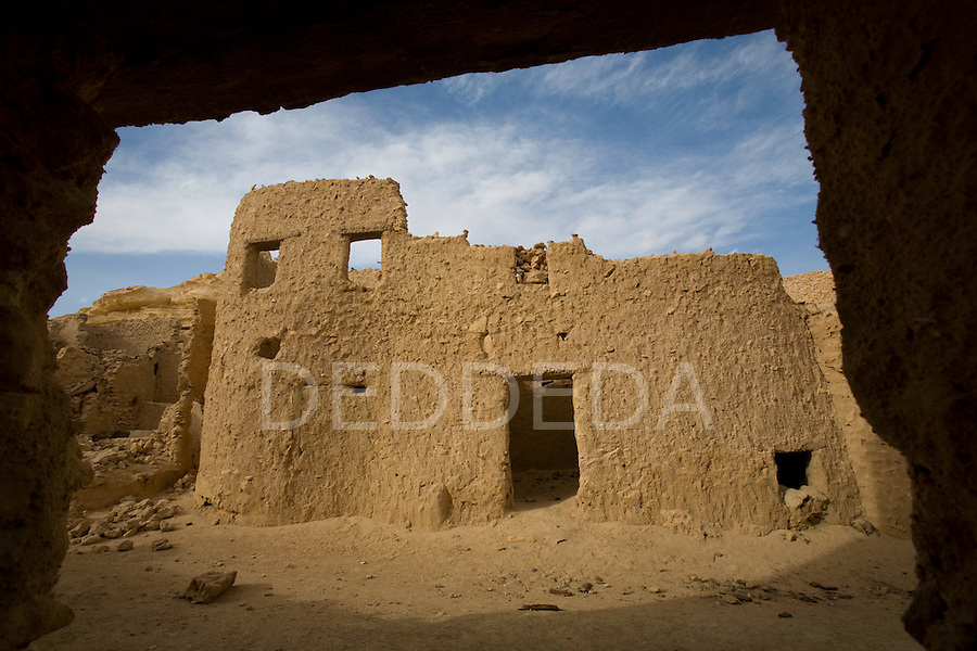 Buildings within the boundary of the 13th century mud-brick fortress of Shali, at sunset, in Siwa Town of the Siwa Oasis, near the Libyan border in Egypt.