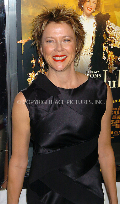 """WWW.ACEPIXS.COM . . . . .  ....NEW YORK, OCTOBER 6, 2004....Annette Bening attends the NYC Premiere of 'Being Julia.""""....Please byline: AJ Sokalner - ACE PICTURES..... *** ***..Ace Pictures, Inc:  ..Alecsey Boldeskul (646) 267-6913 ..Philip Vaughan (646) 769-0430..e-mail: info@acepixs.com..web: http://www.acepixs.com"""