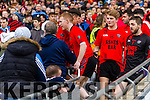 Pa Kilkenny , Daniel Griffin Rory O'Connor Glenbeigh Glencar players celebrate their victory over Rock Saint Patricks in the Junior Football All Ireland Final in Croke Park on Sunday.